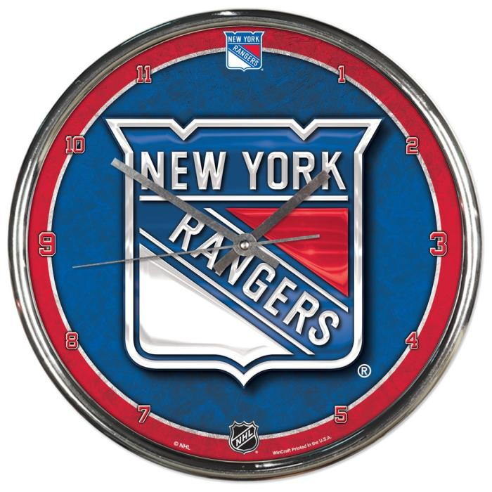 nhl chrome uhr wanduhr new york rangers eur 22 00. Black Bedroom Furniture Sets. Home Design Ideas